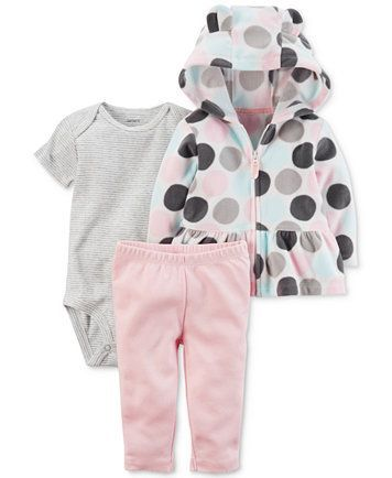 Carter's 3-Pc. Peplum Fleece Hoodie, Bodysuit & Leggings Set, Baby Girls - size 18-24 months | macys.com #babygirlhoodies