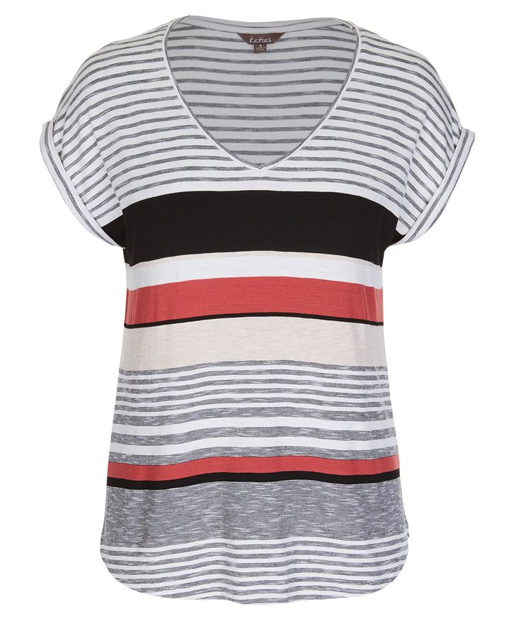 We've refreshed the basic tee with marled stripes and tonal accents. Keep it…