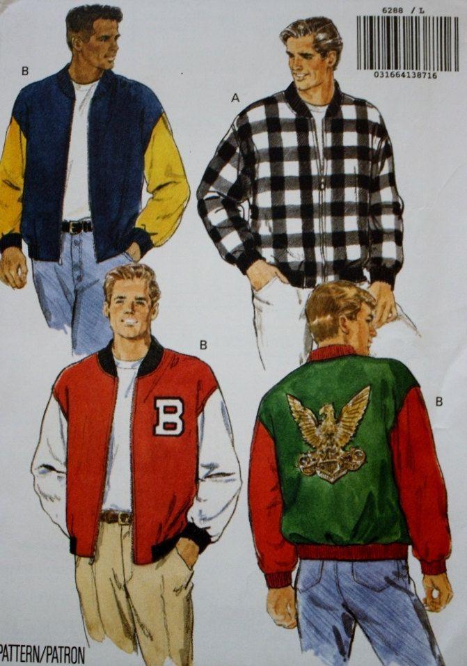 80s Fashion Men Patterned Bomber Jacket Mens Jacket Pattern Jacket Pattern Sewing