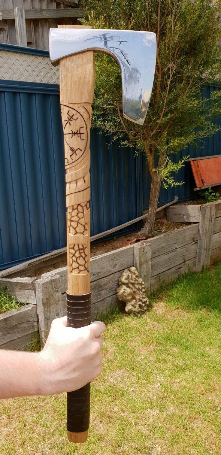 Details about viking compass battle axe hand made custom