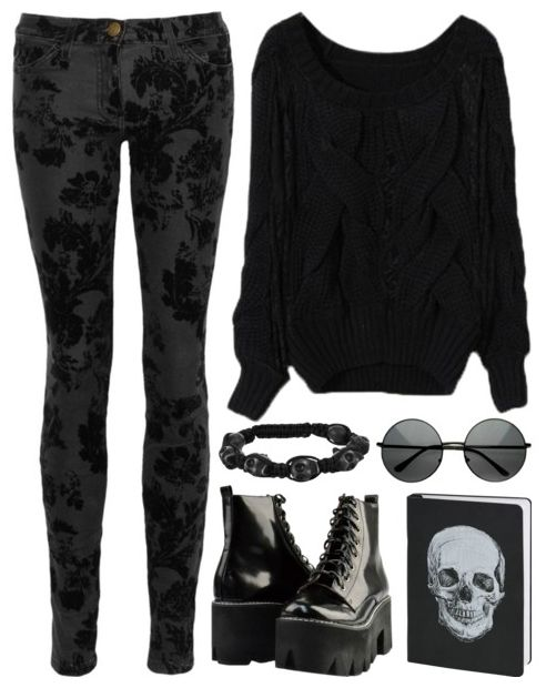 Goth/Nu Goth outfit idea. Platform shoes and round glasses!