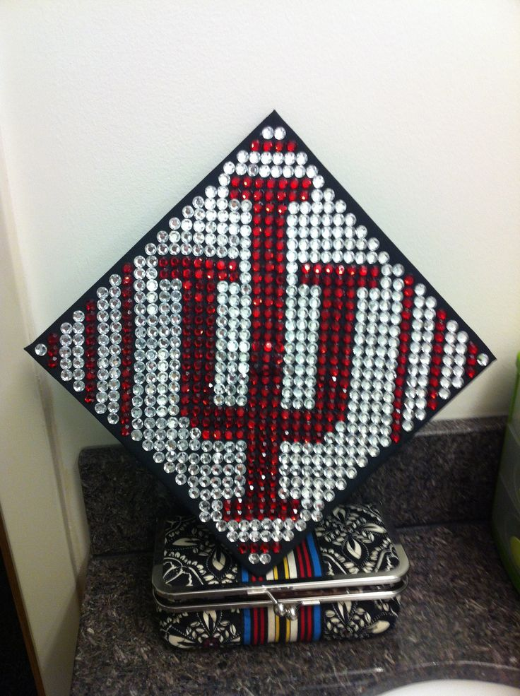 Indiana university graduation cap decoration hoo hoo hoo for Graduation decorations