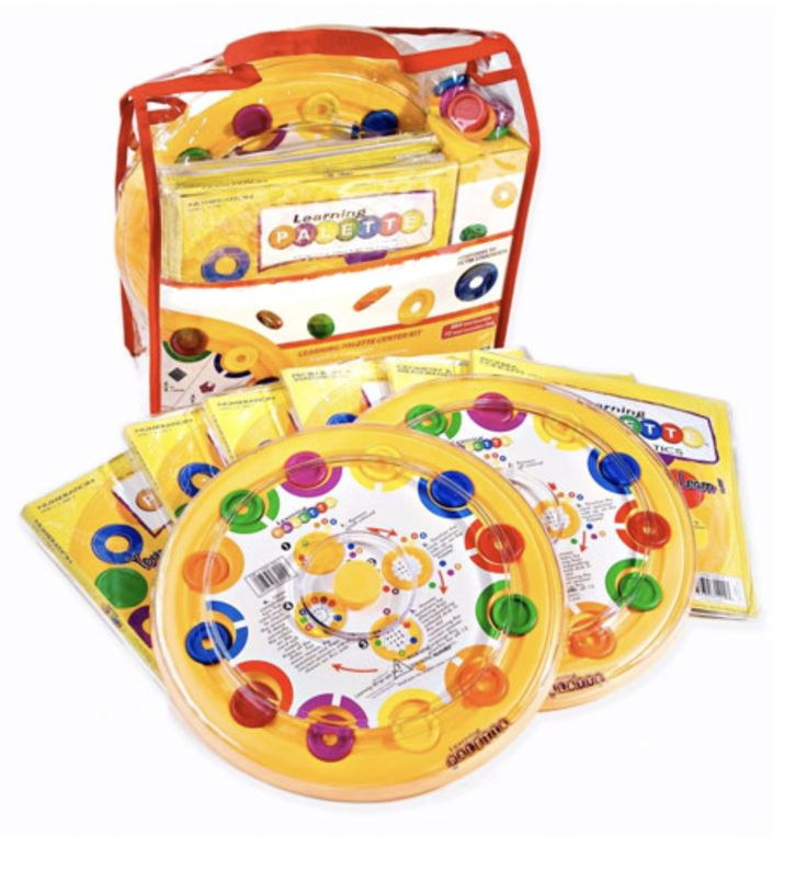 Learning Palette Math Kit includes 1 Learning Palette Base, and 5 Titles of Learning Palette cards (Matching and Early Numbers, Numbers-Coins & Fractions, Intro to Algebra, Intro to Geometry and Measurement, and Intro to Data ) each with 12 curriculum cards.