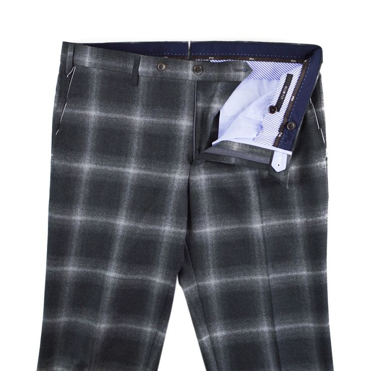 BUSINESS PT01 Gray Plaid Wool Cashmere Slim Fit Dress Pants  |  Have at it! http://www.frieschskys.com/bottoms/pants  |  #frieschskys #mensfashion #fashion #mensstyle #style #moda #menswear #dapper #stylish #MadeInItaly #Italy #couture #highfashion #designer #shop