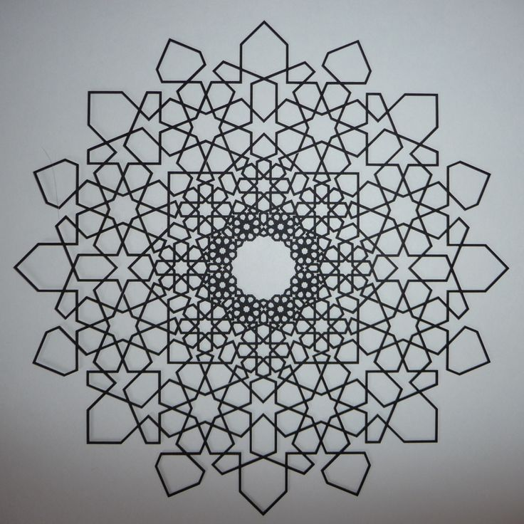 Islamic Fractal Star - Outlined Version - Phil Webster Design  #math #geometry #islamic