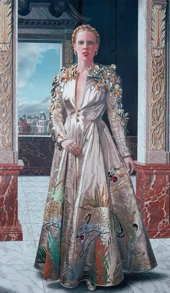 Amsterdam 1975 Mathilde painting by Willink, wearing a Couture dress by Fong Leng.
