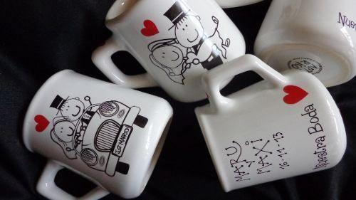 10 souvenir mates tazas personalizados con bombilla boda 15