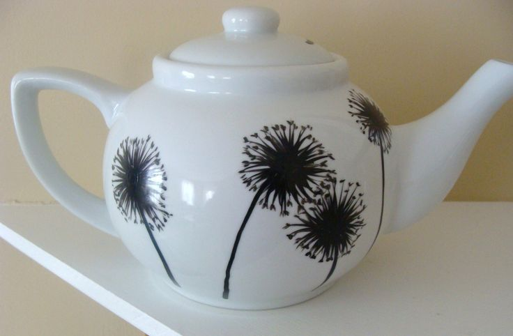 Dandelion Teapot,black and white dishes,tea set,housewarming gift,serving,tableware,silhouette,flowers,Canada,floral,art,dinnerware by CANADIANCREATIONZ on Etsy