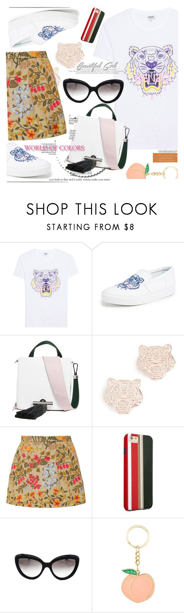 """""""KENZO Classic Tiger White // Printed t-shirt"""" by ilona-828 ❤ liked on Polyvore featuring Kenzo, RED Valentino and Prada"""