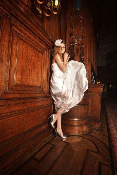 Suknia ślubna z jedwabnego muślinu