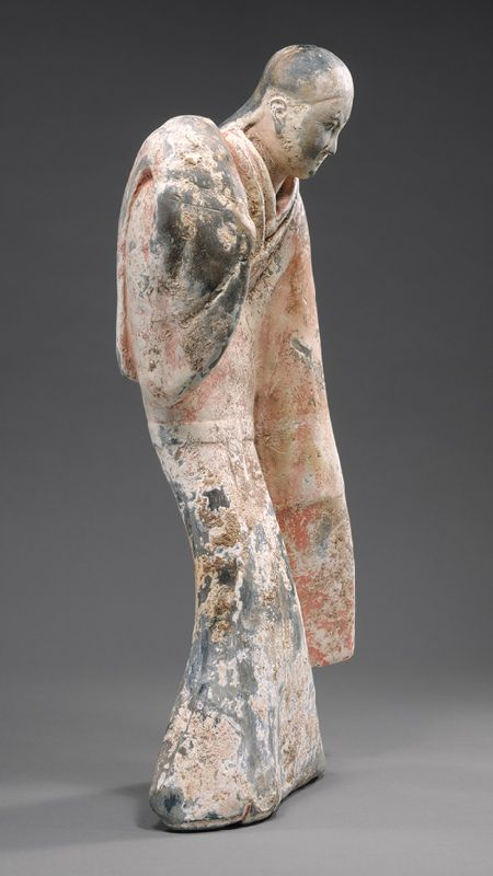 Female Dancer, Western Han dynasty (206 b.c.–9 a.d.), 2nd century b.c.  China  Earthenware with slip and pigments    H. 21 in. (53.3 cm)  Charlotte C. and John C. Weber Collection, Gift of Charlotte C. and John C. Weber, 1992 (1992.165.19)