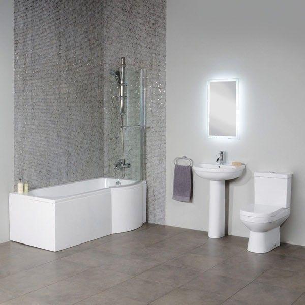 £388.95 Dee Right Hand P Shape Shower Bath Suite