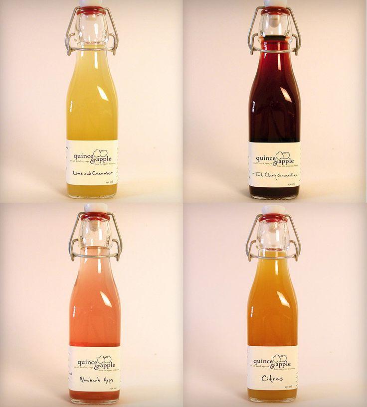 Craft Cocktail Syrups:  Tart Cherry Grenadine, Rhubarb Hops, Citrus, Lime & Cucumber