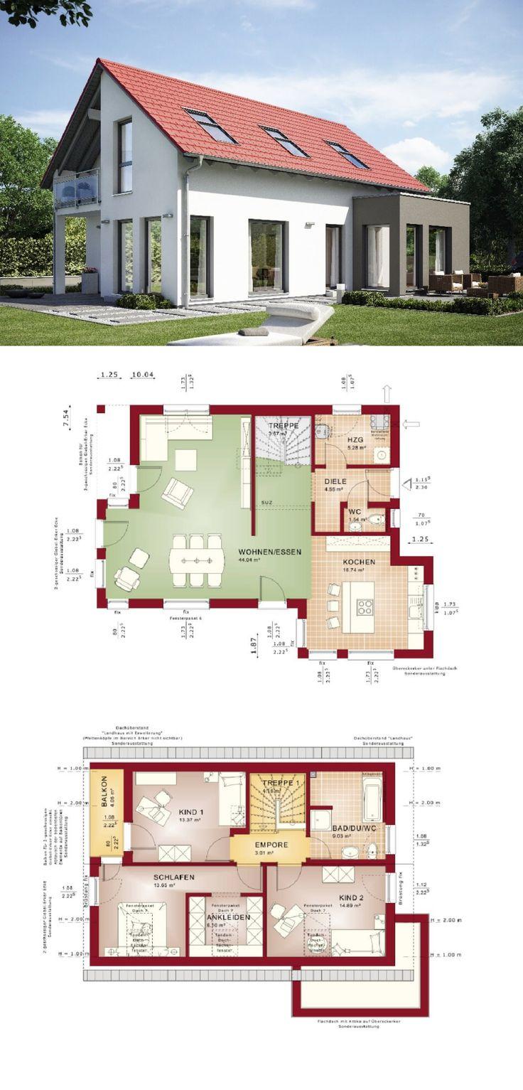 Satteldach Haus mit Erker Anbau Einfamilienhaus Grundriss