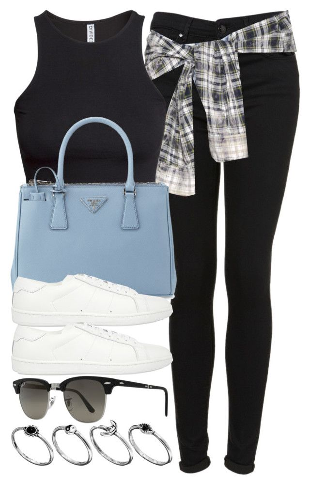 """""""Style #8815"""" by vany-alvarado ❤ liked on Polyvore featuring Topshop, Faith Connexion, H&M, Prada, Yves Saint Laurent, Ray-Ban and ASOS"""