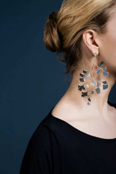 ginko silver earrings Malin Ohlsson Jewellery