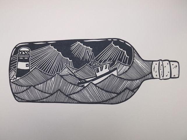 Fishing Boat in a Bottle . Original Linocut Print. £30.00 #messageinabottle #bottle