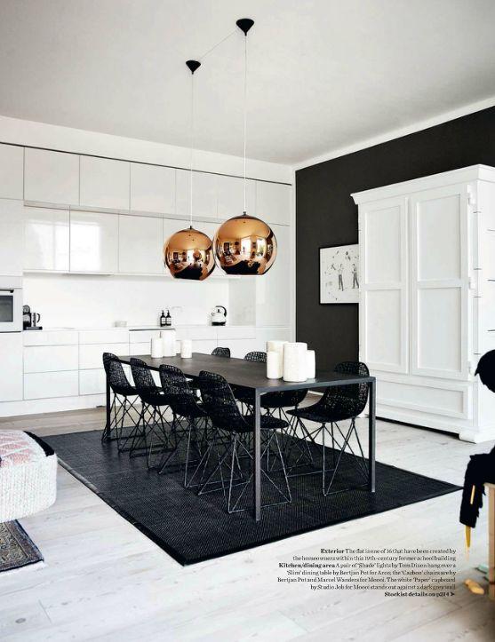 blissfulb - BLISS - art-filled copenhagen apartment - white kitchen + copper pendants + black rug & wall