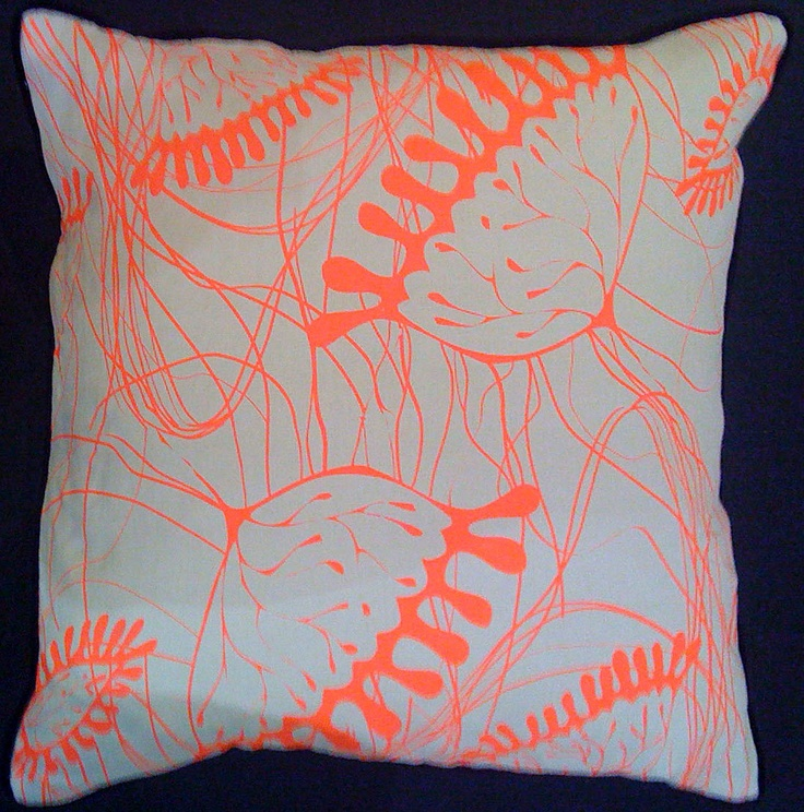 Hand screen printed linen cushion with neon pattern print design and silk-velvet backing.