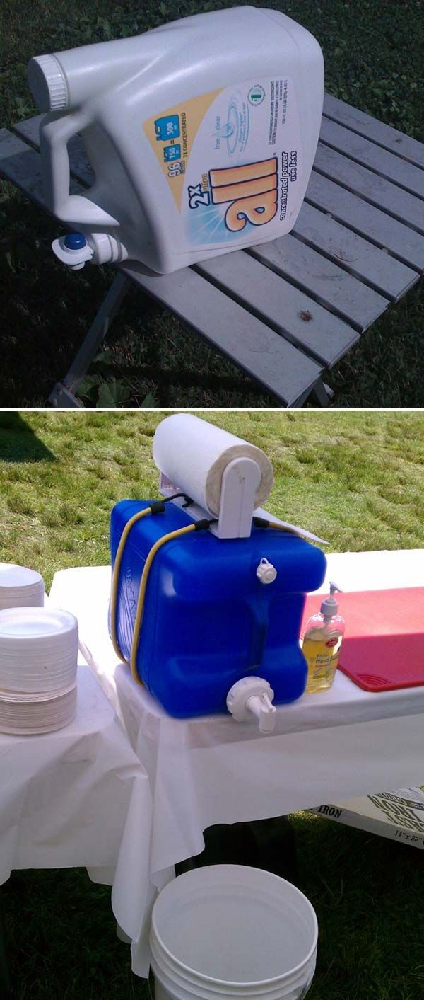 Recycle big water jug or old detergent bottle as a portable hand-washing station.