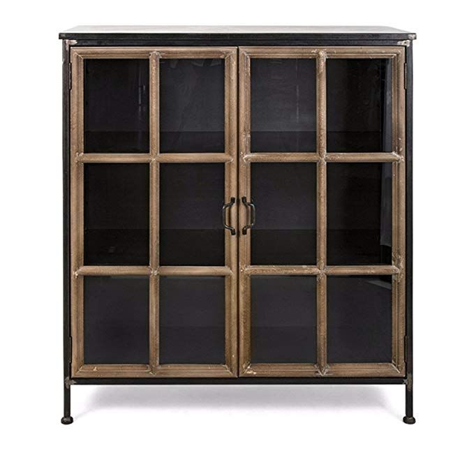 Benzara Imx 40534 Lawrence Wood And Metal Cabinet Black Metal Cabinet Accent Doors Accent Cabinet