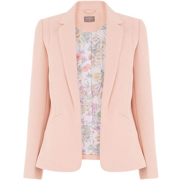 TAILORED EVENT BLAZER (235 DOP) ❤ liked on Polyvore featuring outerwear, jackets, blazers, tailored jacket, blazer jacket, pink blazer, tailored blazer and pink jacket
