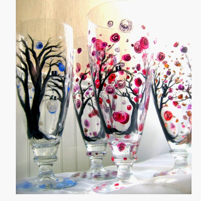 Painted wine glassesGlasses Painting, Crafts Ideas, Painting Wine Glasses Trees, Diy Crafts, Cheer, Art, Glasses Ideas, Painting Glasses, Painting Glassware