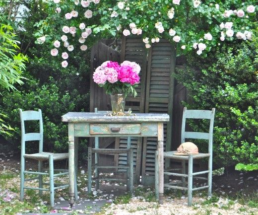 Cecil Brunner Roses And Peonies   Black Shutters And A Chippy Table   · Patio  IdeasBackyard ...