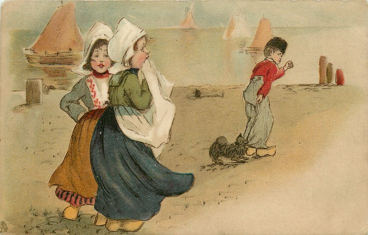 twee Nederlandse meisjes, Nederlandse jongen en hond, havengezicht.....................................lbxxx.