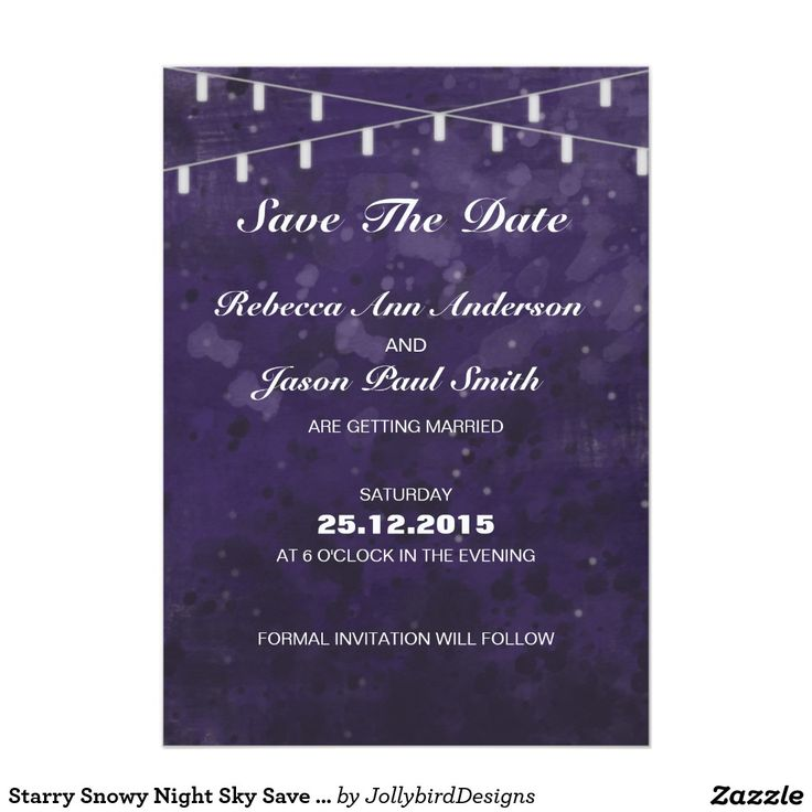 Starry Snowy Night Sky Save The Date 5x7 Paper Invitation Card  #lovely #weddinginvitation #savethedate design with #dreamy #abstract #watercolor #starry #nightsky theme