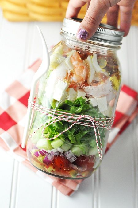 Shrimp Cucumber Salad in a Mason Jar. So good! Cut up shrimp, cucumber, tomato, red onion and put in a Mason jar with some vinegar so they marinate a bit. Then chop up the lettuce, shrimp and blue cheese and serve. Only 220 calories.  It was to die for! - E 7/12/13. A very quick, healthy, low fat, delicious salad idea.