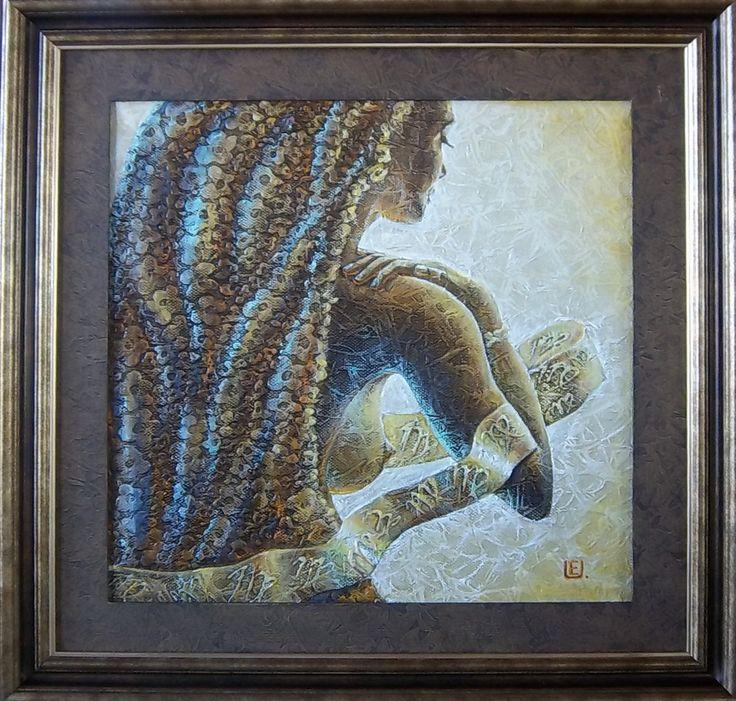 Zodiac Virgo. 50x50 cm. Oil on canvas, spoecial texture.
