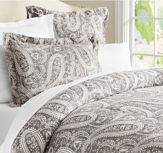 pretty grey paisley bedding