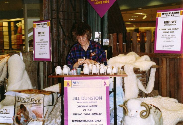 One of the original souvenir sheep makers from the early days at MiniJumbuk. This particular photo was taken in a Myer store.