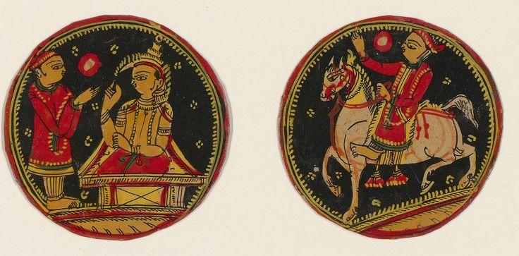 [Ganjifa mogholes de forme ronde]. , [2ème couleur : Safed (lunes ou pièces d'argent)] : [carte à jouer, peinture] 1760