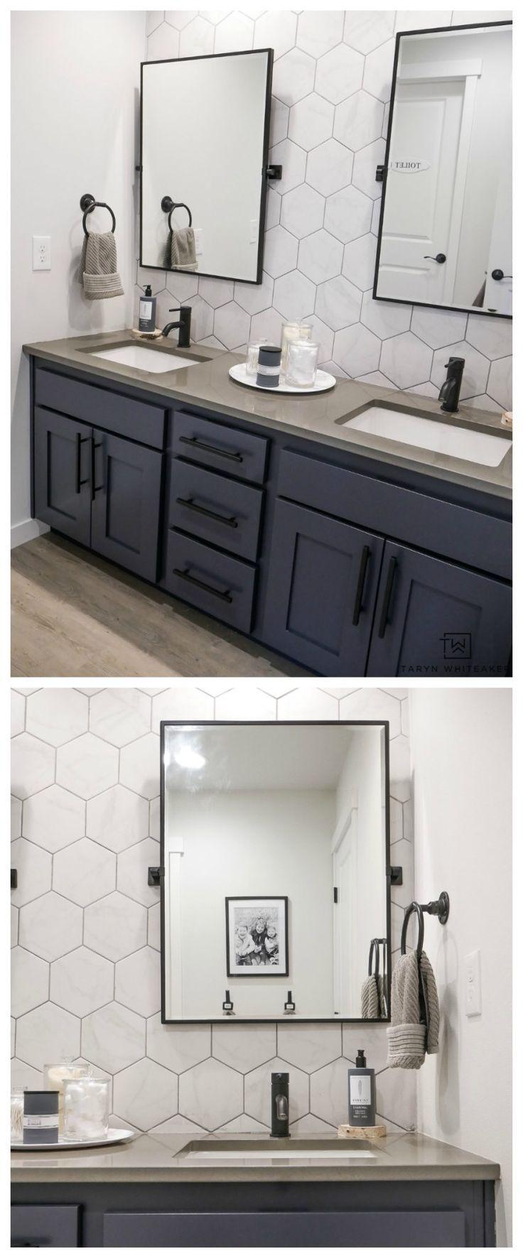 Double Sink Bathroom Vanity Makeover Taryn Whiteaker Bathroom Vanity Makeover Bathroom Cabinets Designs Bathroom Sink Vanity