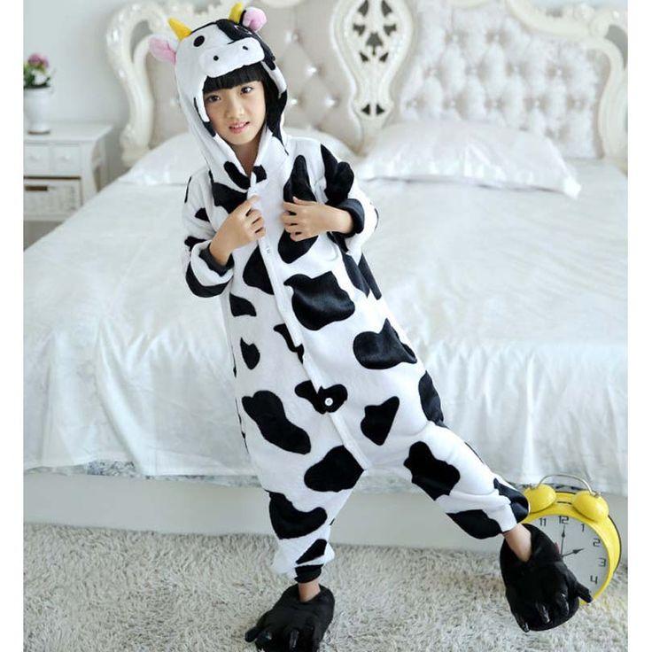 Kids Toddler Cartoon Animal Milk Cow Costume Performance Jumpsuit Kigurumi Onesie Blanket Sleepers Kids Pajama Hips With Zipper