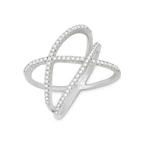 R028039 - Sterling Silver and Cubic Zirconia Double Off Center Criss Cross Ring #lionnedesigns #cz #ring