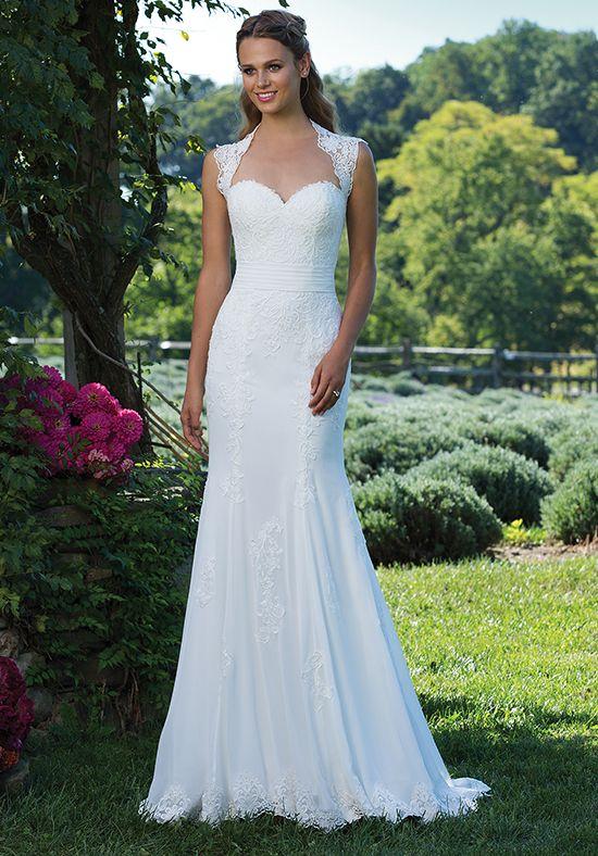 Lace and chiffon fit and flare wedding dress | Sincerity Bridal 3992 | http://trib.al/ecLyu0t