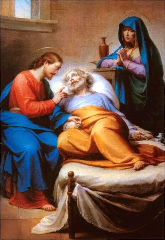 Plegaria a San José por una buena muerte  , ya que él falleció entre los brazos de Jesús y María ,.