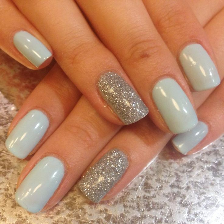 'Cinderella' inspired nails. My one blue love gelish & glitter accent nails