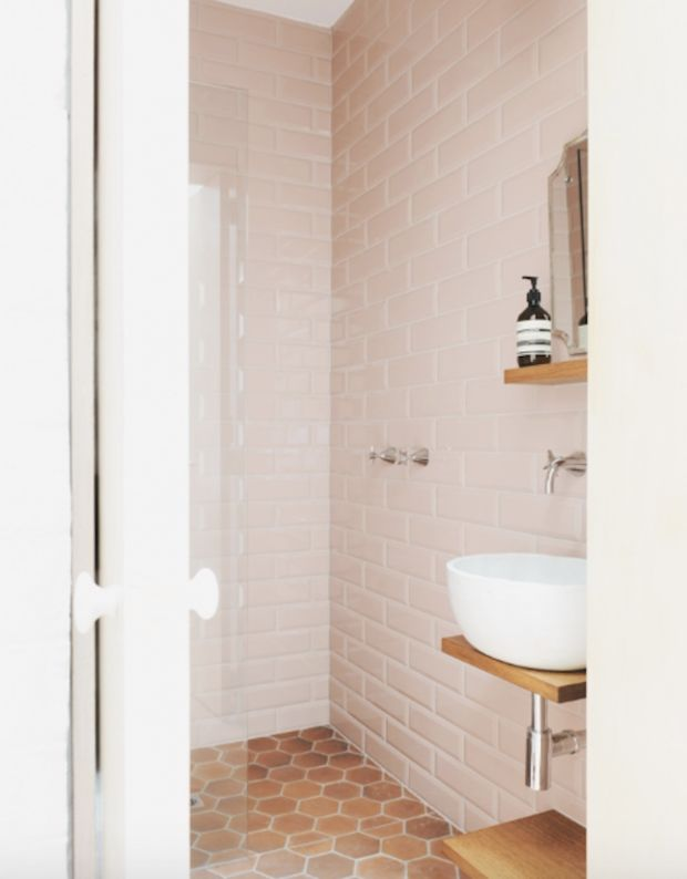 10 Colorful Subway Tile Designs To Try- floor-to-ceiling pink
