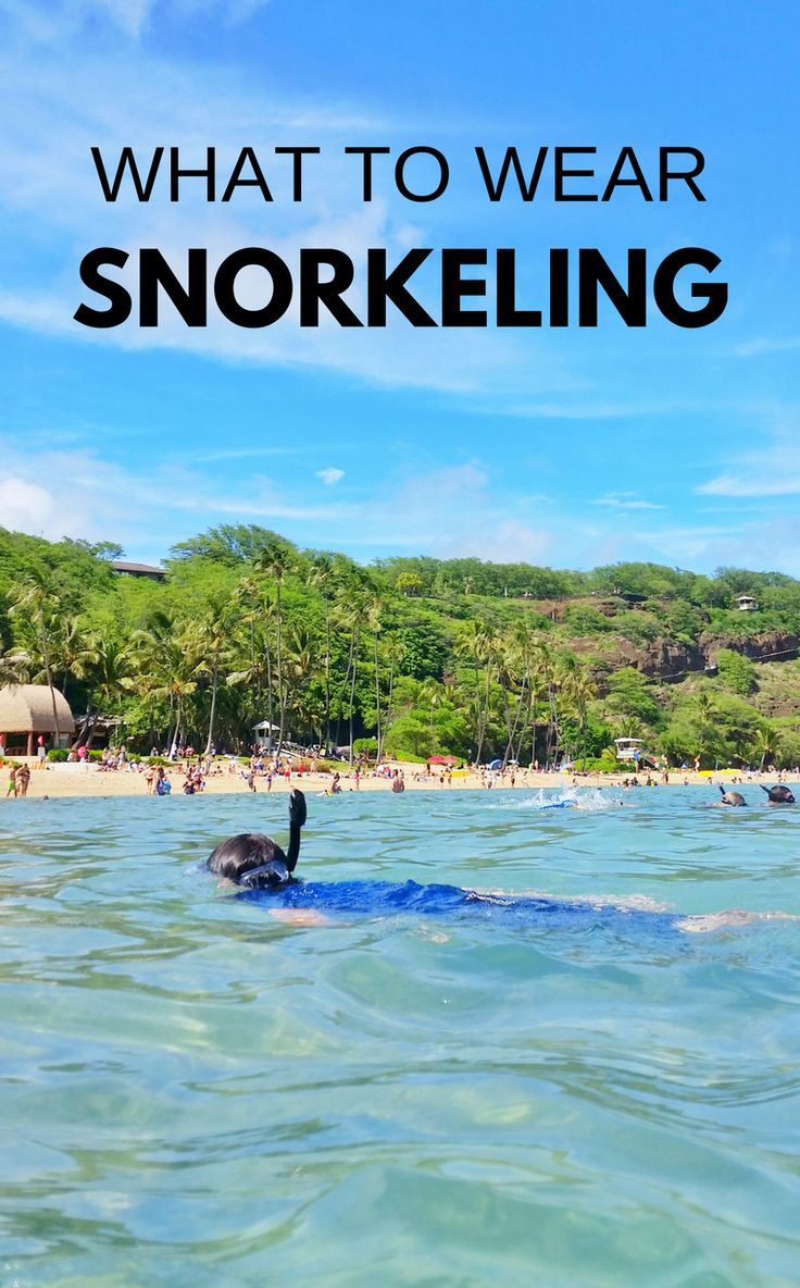 Snorkeling tips for beginners when your beach vacation takes you to best snorkeling spots in Oahu on Hawaii vacation, on a Caribbean cruise to Cozumel Mexico, Key West or Key Largo in Florida Keys, or other top snorkeling destination in the USA or world! What to wear snorkeling as your outfit, travel tips for best snorkel gear to put on your travel packing list. Lots has to do with UV sun protection with rash guards and board shorts. Snorkeling after a hike sounds like perfect day itinerary…