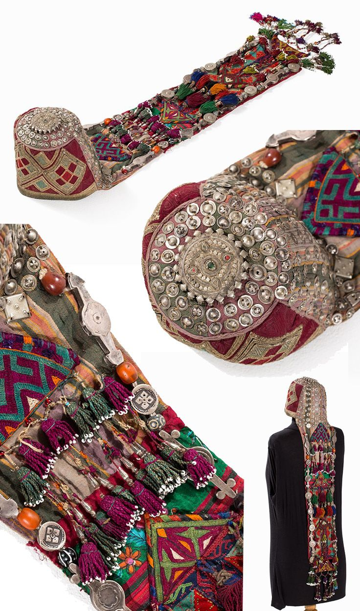 Turkmenistan / Afghanistan | Turkoman Headdress with gold brocade; Stitched cotton, gold brocade, silver, glass beads, carnelian, brass, metal | ca. 1900 | Est. 1'500€ ~ (Jan '15)