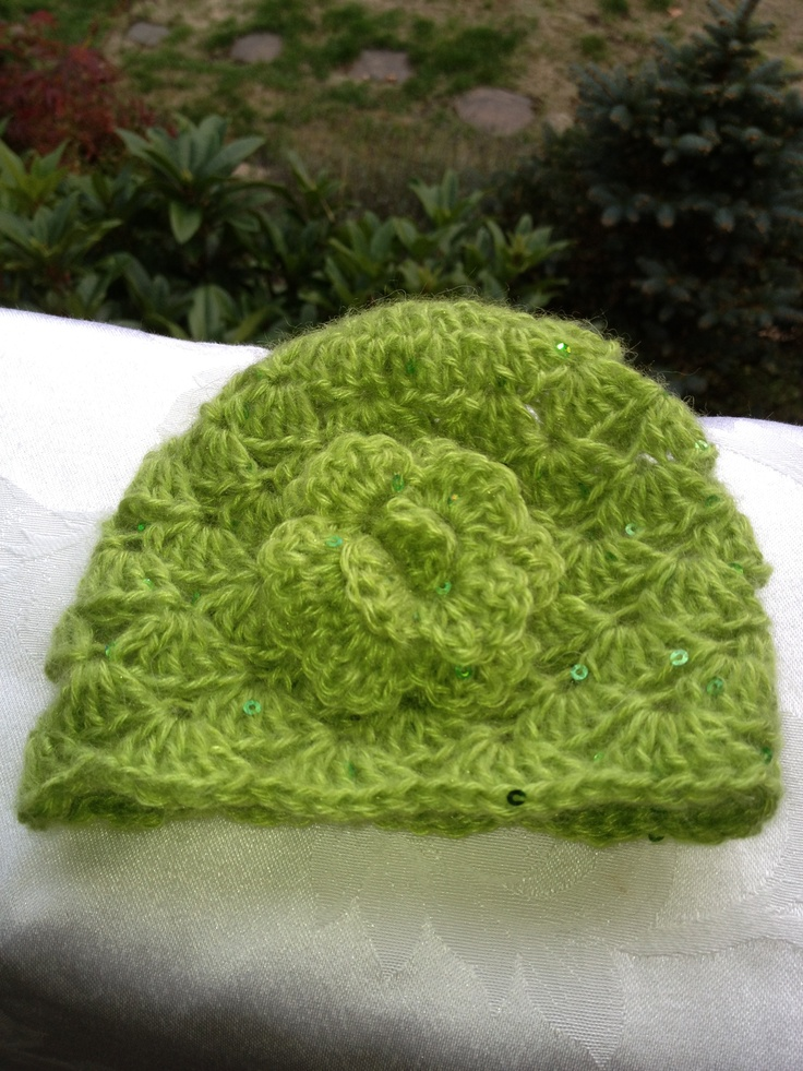 Lime Sequinned Shell Beanie with Rose