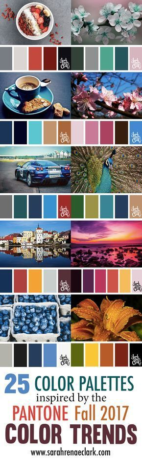 25 Color Palettes Inspired by the Pantone Fall 2017 Color Trends | See all 25 color schemes for inspiration at http://sarahrenaeclark.com