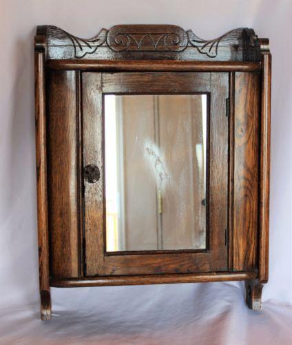 Antique-Vintage-Oak-Medicine-Cabinet-Mirrored-Door-Art- - 69 Best Antique Medicine & Curio Cabinets Images On Pinterest