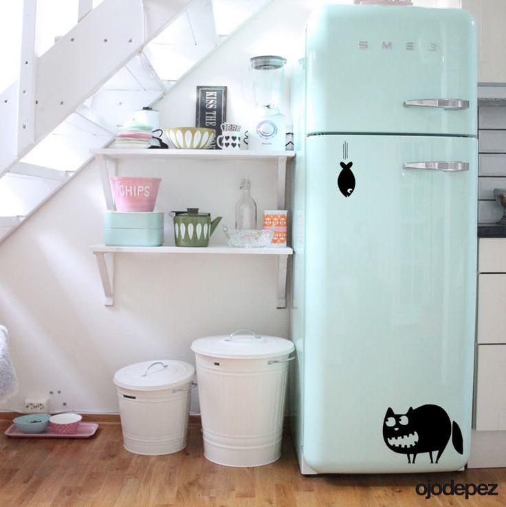 Vinilo decorativo Pack 006: Gato y Pez. Vinilos decorativos Vinilos adhesivos Wall Art Stickers wall stickers