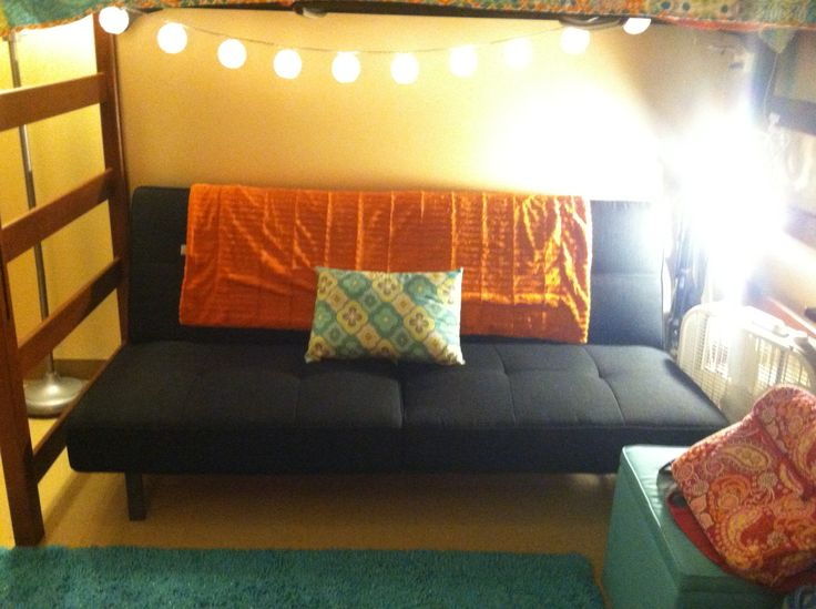 Under my lofted bed. #futon #couch #dorm #dormroom #college #decorations #pillows #throw # ...