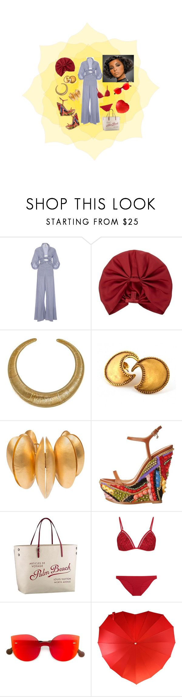 """""""Heat #2"""" by joy-ambitious-jones ❤ liked on Polyvore featuring Rosie Assoulin, Valentino, Hissia, Dsquared2, Louis Vuitton, Zimmermann and RetroSuperFuture"""